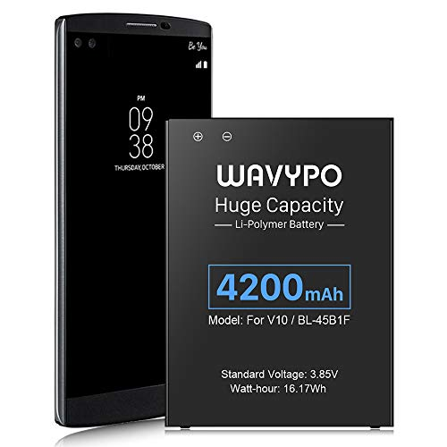 LG V10 Battery, 4200mAh Wavypo Upgraded Li-Polymer Battery Replacement for LG V10 BL-45B1F/ H900 AT&T/ H901 T-Mobile/ VS990 Verizon/ LS992 Sprint/ H961N/ H960A/ H901 H900 V10 Spare Battery