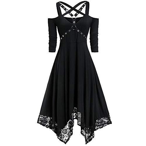 VJGOAL Mujer Moda Halloween Punk Vestido gótico Sexy Fuera del Hombro Encaje Patchwork Media Manga Vestido Plisado Negro