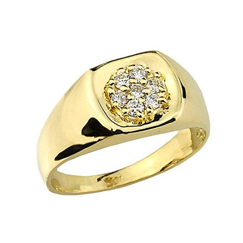 Pequeños Tesoros - Anillos Hombres Alianza De Boda 10 KT Oro 471/1000 Oro Diamante