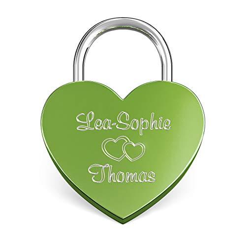 LIEBESSCHLOSS-FACTORY Candado de amor Verde grabado en forma de corazón. Caja de regalo y mucho mas.Diseña tu castillo ahora grabado!
