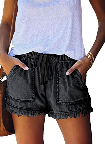 Dokotoo Womens Ladies Casual Summer Frayed Tencel Comfy Drawstring Elastic Waist Denim Jean Shorts for Women for Summer Pants with Pockets Black Small