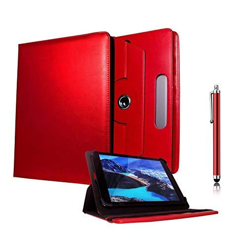 Galaxy Store Rosso Custodia a Portafoglio Universale 360 Gradi di Rotazione con Pennino Capacitivo per Iropro 10.1 Pollici Quad Core Android (9-10 Pollici)