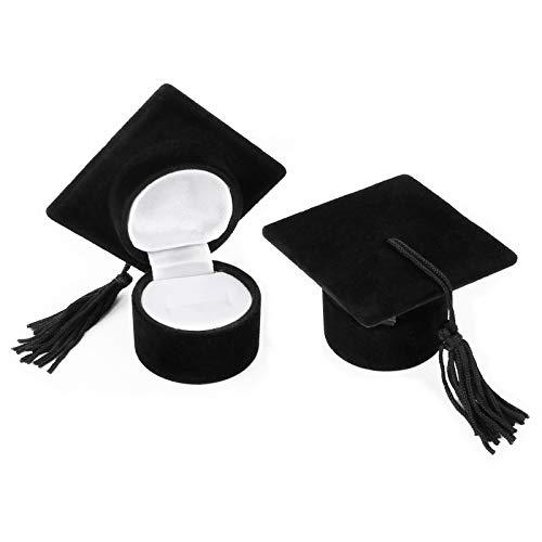 Huayue 2Pcs Caja de Anillo Regalo Caja para Anillos, Caja de Anillo con Forma de Sombrero de Doctor, Caja de Anillos de Compromiso Boda, Caja de Joyería para Graduación (Negro, 40mm)