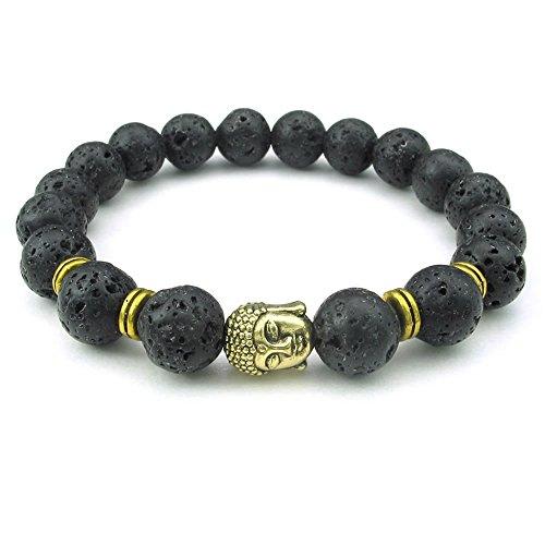 KONOV joyas pulsera hombre–10mm cristal de roca Oración Mala rosario Buda Yoga–piedra roca de lava rock–Fantasía–hombre y mujer–Cadena de mano–Color oro negro–con bolsa regalo