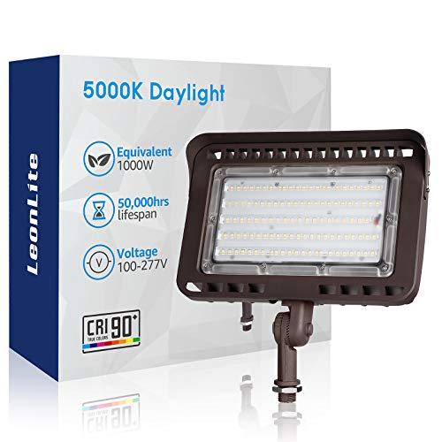LEONLITE 100W LED Flood Light Outdoor, CRI90+, LED Flood Lights with Knuckle Mount, 1000W Eqv., IP65, 5000K Daylight, Yard Garden Garage