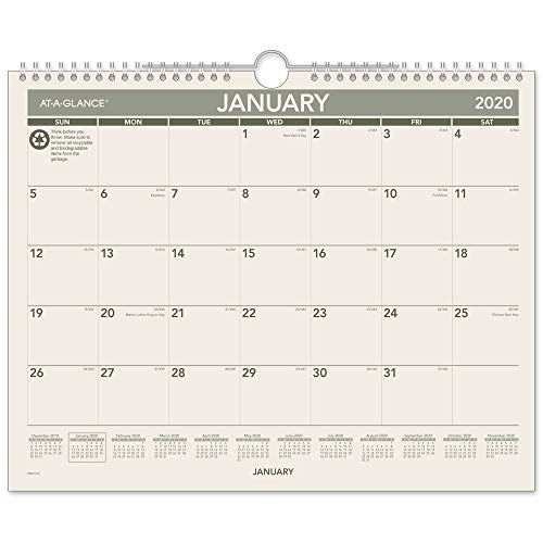 AT-A-GLANCE 2020 Monthly Wall Calendar, 15 x 12, Medium, Recycled (PMG7728)