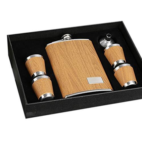 Jcevium - Fiaschetta in legno, con 1 imbuto e 4 tazze da whiskey in acciaio con flagello da viaggio, per regali