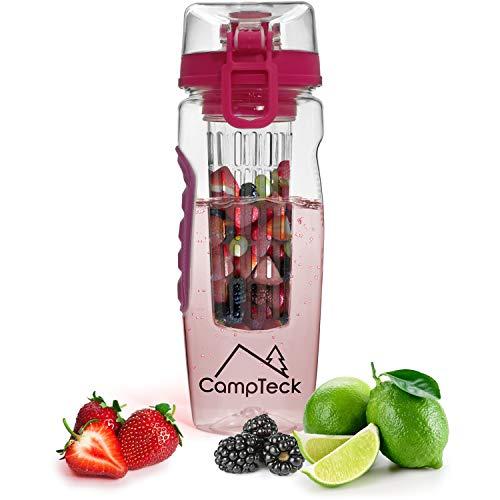 borraccia con infusore CampTeck U4277 1 Litro 1000ml Frutta Acqua Bottiglia Infusioni Borraccia Infusore (Plastica Tritan Senza BPA) con Coperchio a Prova di Perdite - Rosa