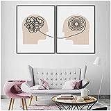 FUXUERUI Póster de psicólogo consultor de terapia lienzo arte de pared póster impreso e imágenes para la decoración de la sala de estar 40x50cmx2 sin marco