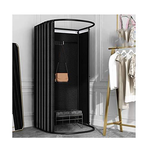 LJIANW Vestuario Portátil, Temporal Plegable Probador for Tienda De Ropa De Pie Fácil Vestuario, 8 Colores (Color : Black, Size : 80x85x200cm)