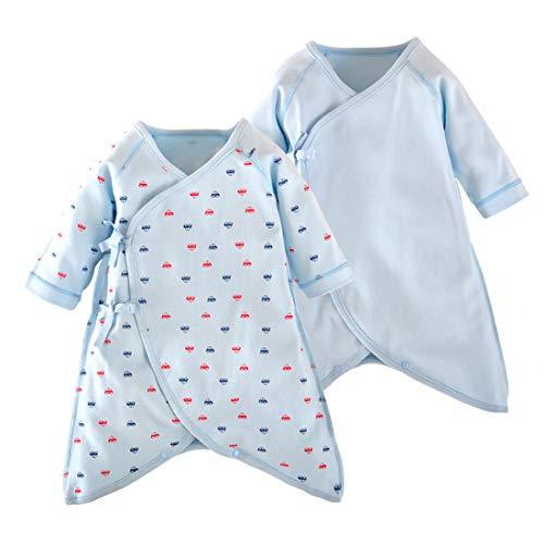 PAUBOLI - Conjunto de 2 camisetas de kimono para recién nacido de algodón orgánico de manga larga Azul Coche azul 2 mes