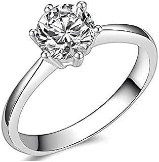 Brisk Brilliant Round Cut Simulated Diamond CZ 6-Prong Engagement Wedding Ring Sizes 4 to 9.5 (4.5)