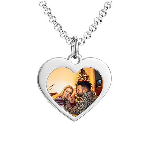 Collar con placa de identificación personalizada Collar con foto personalizado Collar con colgante de corazón Collar para mamá(Plata 18)