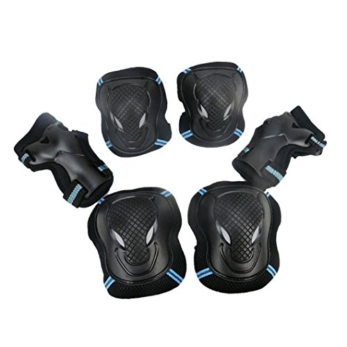 Leewos Breathable Skateboard Protective Impact Resistance BMX Bike Knee Pads Elbow Pads Wrist Guards Outdoor Sports Protective Gear(kids/child, blue)