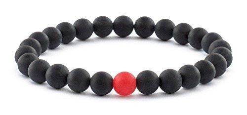 Men Beaded Bracelet, Stretch Bracelet Semi-Precious Stone Beaded Bracelet for Men (Matte Black Onyx Large, 8 inch)