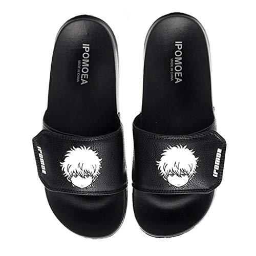 WANHONGYUE Gintama Anime Unisex-Erwachsene Pantoffeln Hausschuhe Slippers Einstellbarer Klettverschluss 6 / Schwarz 280 MM