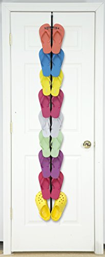 Perfect Curve Flip Flop Rack Organizer, Holds 9 Pairs, Black