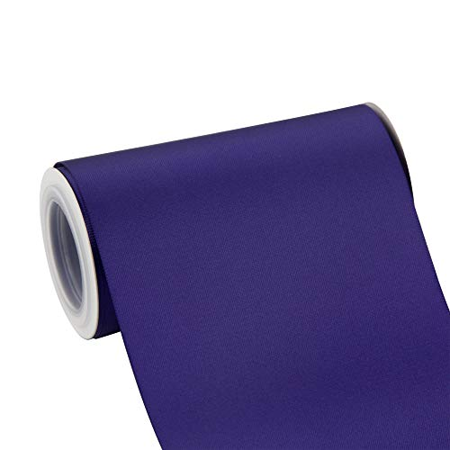 VATIN 4' Wide Double Faced Polyester Regal Purple Satin Ribbon- 5 Yard/Spool, Perfect for Chair Sash, Making Bow, Sewing and Wedding Bouquet