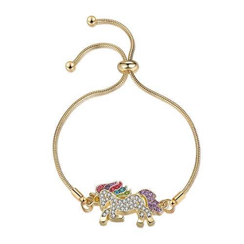 Pulsera de unicornio, regalo para niñas, ajustable, cristal brillante, multicolor, regalo de cumpleaños, regalo de Navidad