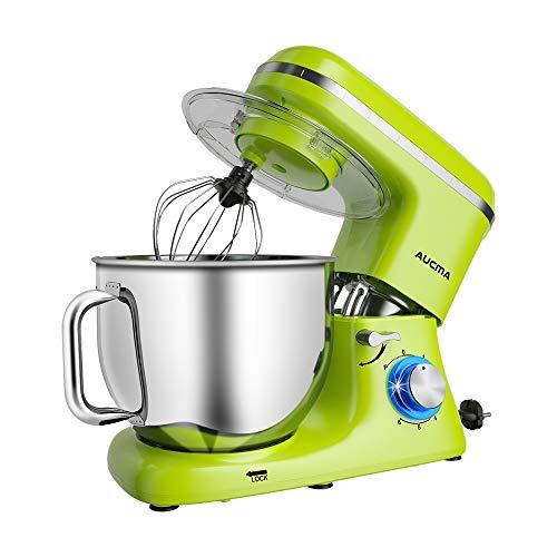 Aucma Knetmaschine Küchenmaschine, 7L Tilt-Head Geräusche Knetmaschine, 6 Geschwindigkeit mit Rührbesen, Knethaken, Schlagbesen, Spritzschutz und Edelstahlschüssel Teigmaschin 1400W,Grün