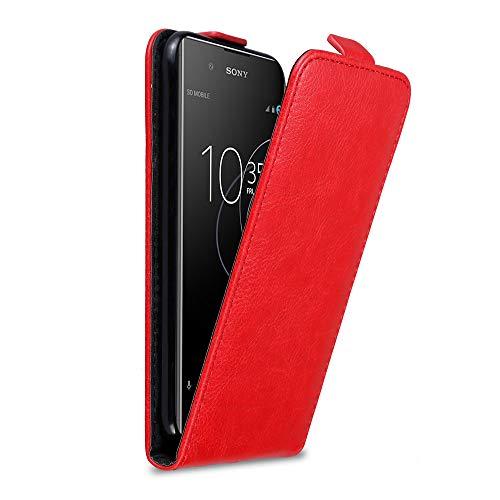 Cadorabo Hülle für Sony Xperia XA1 Plus in Apfel ROT - Handyhülle im Flip Design mit Magnetverschluss - Case Cover Schutzhülle Etui Tasche Book Klapp Style