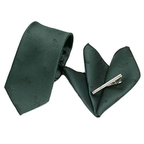 ネクタイ ポケットチーフ ネクタイピン 3点セット メンズ シルク タイ チーフ タイバー 恐竜 化石 飛行機 モチーフ 5種 (シャドー恐竜・グリーン)