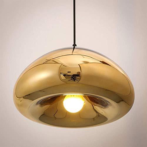 XYSQWZ Dekorative Lampen Kreative Messingschale Glasspiegel Pendelleuchte Moderne minimalistische Galvanik Glas Kronleuchter Restaurant Esstisch Bar Kücheninsel Deckenleuchte (Farbe: Silber)