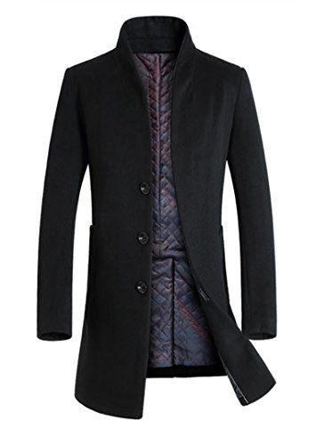 Lavnis Men's Trench Coat Long Wool Blend Overcoat Slim Fit Down Topcoat Thicken Style Black L