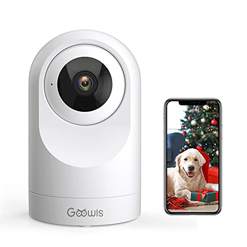 Indoor Security Camera, Goowls WiFi PTZ Home Camera Dog Monitor 2.4GHz WiFi Smart 1080P Wireless Camera for Baby/Pet/Nanny Monitor Night Vision Motion Detection Two-Way Audio Works with Alexa