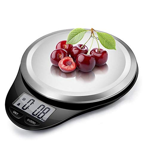 NUTRI FIT Digital Kitchen Scale with Wide Stainless Steel Platefrom High Accuracy Multifunction Food Weight Scale LCD Display for Baking Cooking Max 11lb, Tare & Auto Off Function Hang to Stow - Black