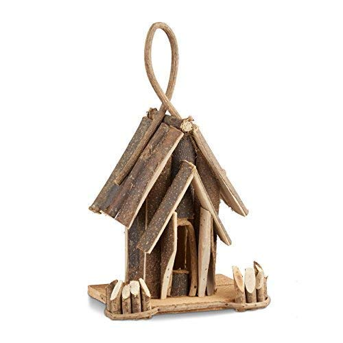 Relaxdays Vogelhaus Deko, Holz Vogelhäuschen mit Aufhängung, handgefertigte Vogelvilla, Dekoration für Balkon, natur