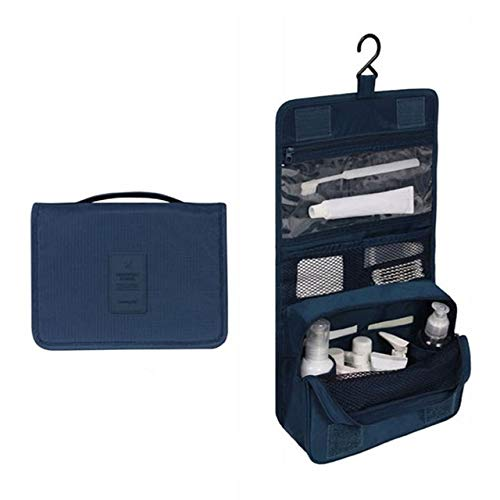 PoplarSun Imperméable à l'eau Portable Sac cosmétique Voyage Polyester Neceser Hanging Sac Neutre Wash Make Up Bag Organisateur de Bain Trousse de Toilette (Color : Navy Blue)