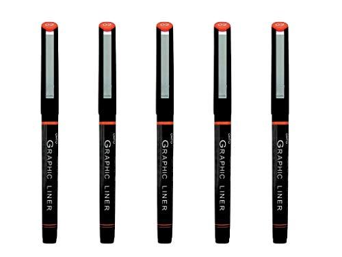 Ohto Graphic Liner - Bolígrafo de punta de aguja (5 unidades, tinta de pigmento 02, 0,5 mm), color negro (CFR-150GL02)
