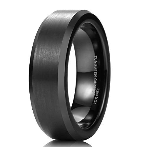 King Will Basic 6mm Black Tungsten Wedding Band Ring Matte Finish Center Beveled Polished Edge 10