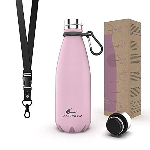 Daikoku Bottiglia in acciaio inossidabile + cinturino regolabile + moschettone, Thermos a doppia parete senza BPA, bottiglia d'acqua riutilizzabile/sostenibile, tappo ermetico... (350 ML, Rosa)