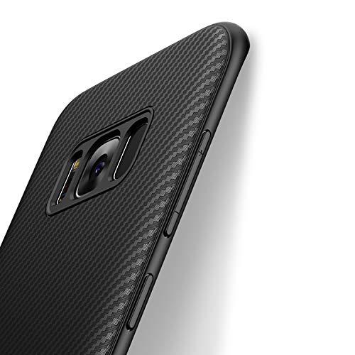 J Jecent Handyhülle für Samsung Galaxy S8, [Kohlefaser Textur-Design Hülle] Soft TPU Silikon Gel Bumper Case, Staubschutz, Hochwertigem Stoßfest, Kratzfest Cover - Schwarz