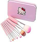 Fanxp Rose Hellokitty Enfants Pinceaux de Maquillage, 7 Pcs Pinceau de Maquillage Set Fondation Sourcils Eyeliner Brosse Cosmétique Correcteur Brosses