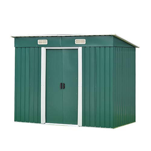 Garden Sheds Tool Storage House Metal Garden Apex Roof Storage Shed (Green, 8x4)