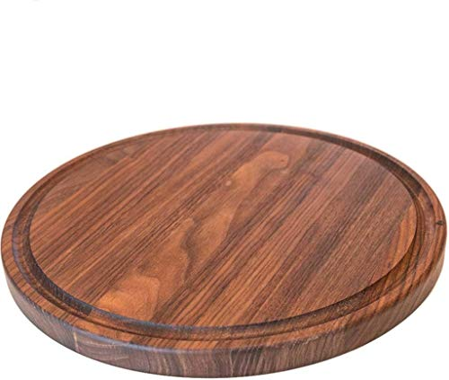 Round Wood Cutting Board by Virginia Boys Kitchens - 10.5 Inch American Walnut Cheese Serving Tray and Charcuterie Platter with Juice Drip Groove