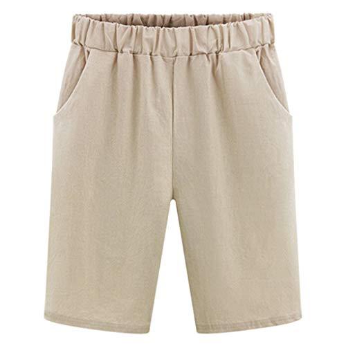 WOZOW Chino Stoffhose Freizeithose Damen Midi Solid Bermuda Elastisch High Waist Straight Leg Cargo Trousers Hosen Casual Slim Loose Lose Arbeitskleidung (3XL,Grün)