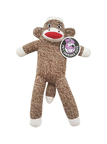 Pet Qwerks Sock Monkey Plush Interactive Dog Toy with Squeakers