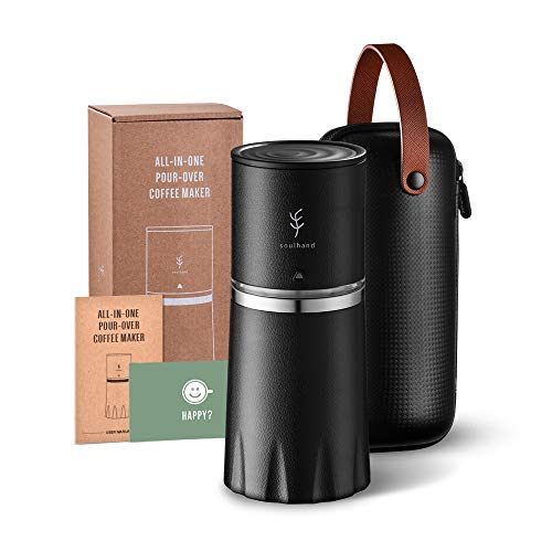 Soulhand All-in-one Portable Pour Over Travel Coffee Maker with Thermal Mug, Manual Coffee Grinder Ceramic Burr, Stainless Steel Filter, Portable Bag, for Travel Camping Outdoor Car Gift