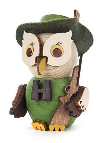Kuhnert Minieule Jäger Dekofigur Original Erzgebirge Handarbeit Holzfigur Eule in modernem Design Sammlerfigur Eule Dekorationsfigur Mini-Eule
