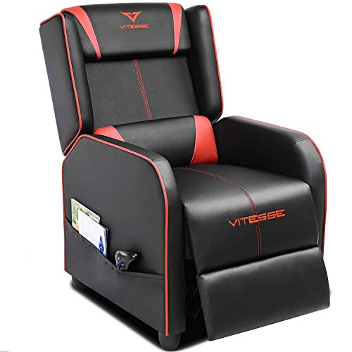 Vitesse Gaming Recliner Chair Racing Style Single Ergonomic Lounge Sofa Modern PU Leather Reclining Home Theater Seat for Living Gaming Room (Red)