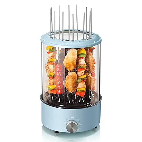 Máquina automática de la barbacoa giratoria, máquina de pinchos de hogar vertical, ajuste de temperatura giratorio, con caja de aceite, para verduras a la parrilla, langostinos, pinchos de carne