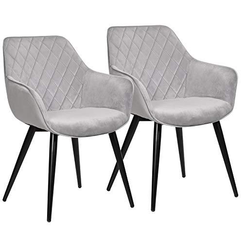 WOLTU Esszimmerstühle BH153gr-2 2er Set Küchenstühle Wohnzimmerstuhl Polsterstuhl Design Stuhl mit Armlehne Samt Gestell aus Stahl Grau