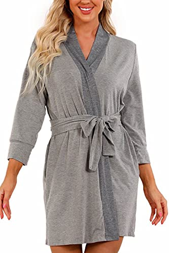 heekpek Bata Mujer Algodon Cuello V Bata Kimono Mujer Albornoz Corto con Bolsillos y Cinturones Adecuados para Primavera Verano Otoño e Invierno