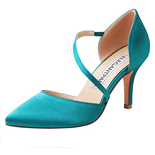 ElegantPark HC1711 Punta Estrecha de Las Mujeres Tacones de Aguja Zapatos de tacón Alto Correas Boda Fiesta de graduación Zapatos de Novia