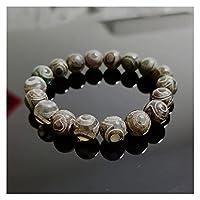 COKILU Retro Heilung natürlicher tibetanischer Dzi-Agate-Armbänder Buddha-Gebet neunäugiger Agate-Charme DREI Augen Runder Ball-Strang Armbänder Heilung Stein Ward aus bösen Spirituosen