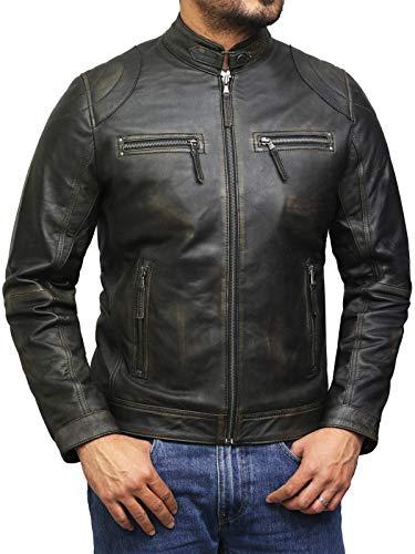 BRANDSLOCK Herren Lammfell Echt Leder Biker Jacke (L, Vintage Schwarz)